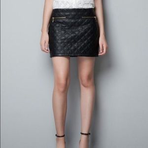 Zara Basic Black Quilted faux leather mini skirt
